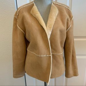 Sherpa look XL jacket with flattering furry trim